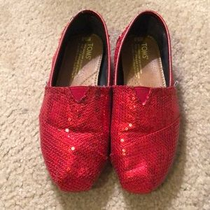 TOMS Red Classic Sequin Slip-Ons